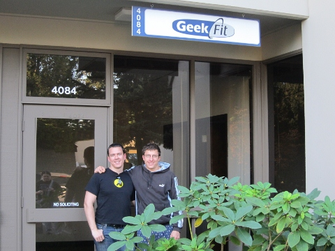 Chris and Lowell in front of GeekFit