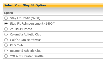 "select ""StayFit Reimbursement ($800*)"" from the list"